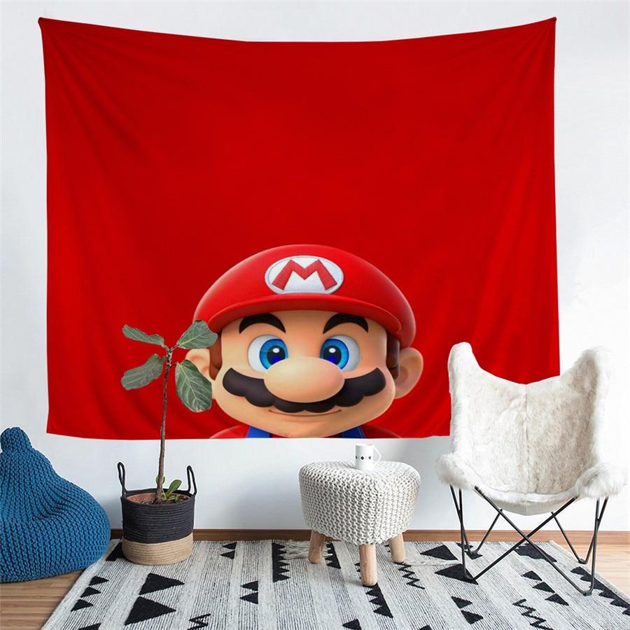 HELENGILI Home Furnishing Mario Tapestry Wall Hanging Sandy Beach Picnic Throw Rug Blanket Camping Tent Sleeping Pad