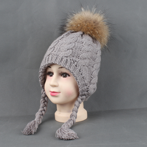 9fac0d33889f2 Detail Feedback Questions about Kids Hats Winter Warm Fleece Liner Cap For  Children Girls Cotton Knitted Ponytail Beanie Real Fur Pompom Hat With Ears  on ...