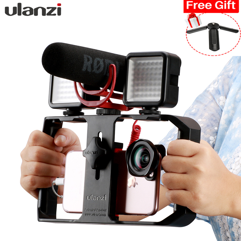 Ulanzi Smartphone Handle Rig Triple Hot Shoe Mounts Video Stabilizer Vlog Grip for iPhone Mobile Filmmaker for by-mm1 microphone smartphone