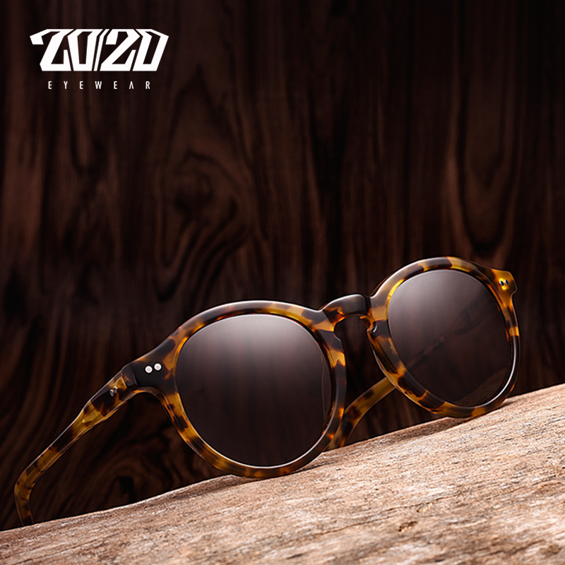 20/20 Polarized Sunglasses women Brand Designer Acetate Round Sun Glasses for Men Classic Rivet Eyewear feminino Oculos AT8003