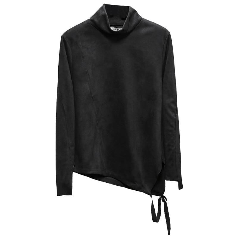Tailoring Imitation Velvet Leather Long sleeved Slim Shirt High Collar Trend T shirt Stranger Things T Shirt Streetwear Hip Hop - 4
