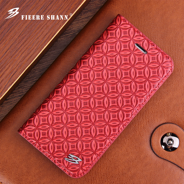 Fierre Shann Samsung Galaxy S8 artı S8 inek derisi Flip Case hakiki deri iPhone Xs için X 8 artı 6s 6 7 artı kickstand kapak