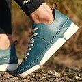2016 NUEVA Moda de Cuero Genuino Zapatos de Los Hombres, los hombres de Cuero Zapatos Casuales, zapatos de plataforma plana Herramienta Macho