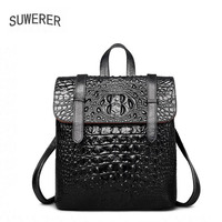 SUWERER рюкзак из натуральной кожи роскошные женские Крокодил шаблон женщин сумки дизайнерские сумки женские рюкзак черный рюкзак