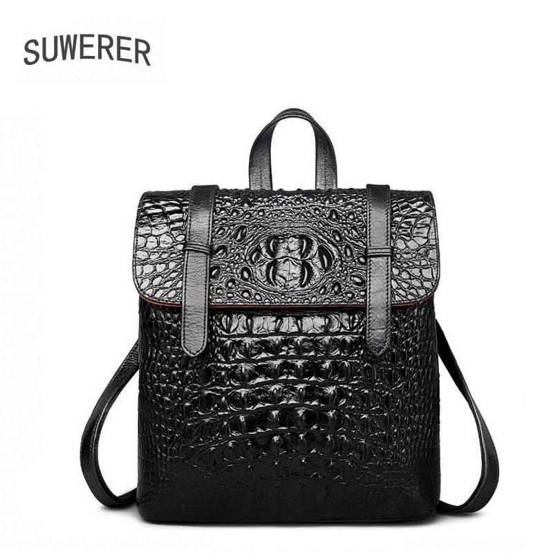 SUWERER Genuine Leather backpack women luxury Crocodile pattern women bags designer bags women female backpack black backpack