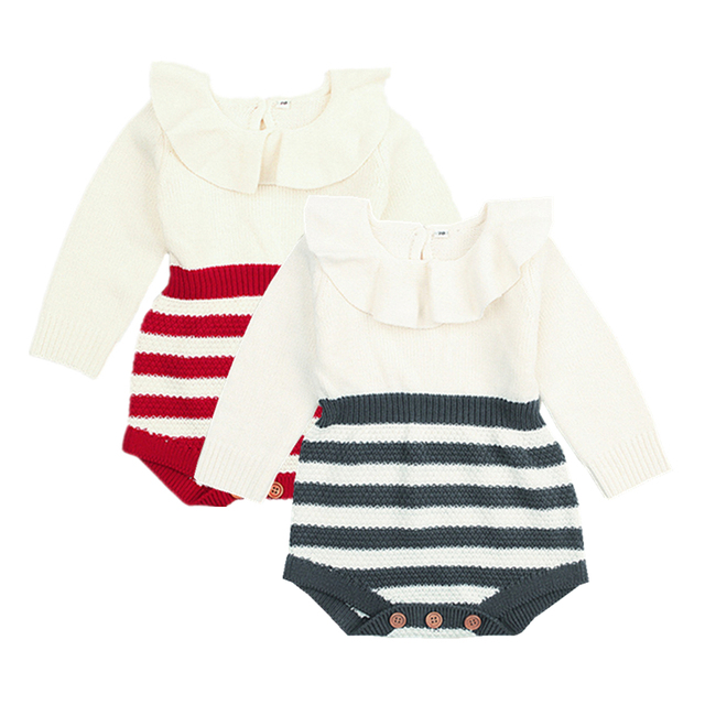 b59d0efe68a Baby Girl Clothes Autumn Baby Romper Cute Peter Pan Collar Girl Clothes  Winter Newborn Infant Jumpsuit Warm Striped Knit Sweater