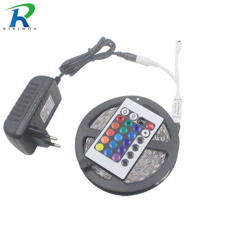 RiRi won SMD 5m RGB LED Strip lights DC 12V 5050 2835 3014 flexible led tape ribbon diode ip20 24k controller adapter set