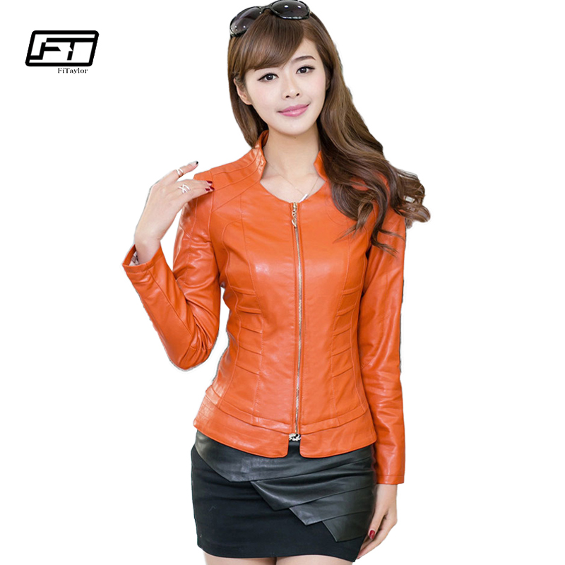 Fitaylor 2018 Autumn Women Pu   Leather   Jacket Solid Slim Short Paragraph Motorcycle Ladies   Leather   Jackets Mandarin Collar Blazer