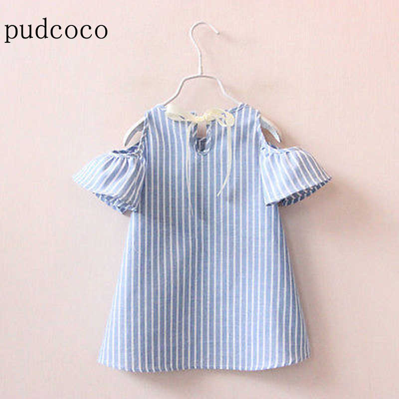 US STOCK  Infants Kids Baby Girls Dress Children Summer Flare Sleeve White Striped Blue Dress Infant Outfits Princess Party Tutu