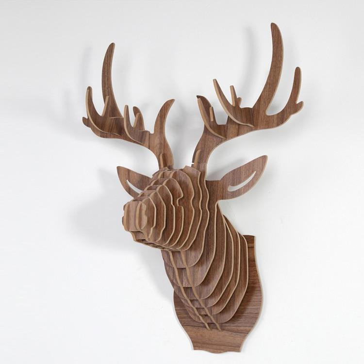 1 set 3D Wood Puzzle Wooden DIY Model Wall Hanging Animal Wildlife Head Sculpture Wooden Deer Head Black White Red IW WD001