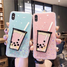 Jelly Color Glitter Milk Tea Summer Pattern Phone Case for iPhone XR X XS Max For 6 6S 7 8 Plus Back Cover Soft Cases