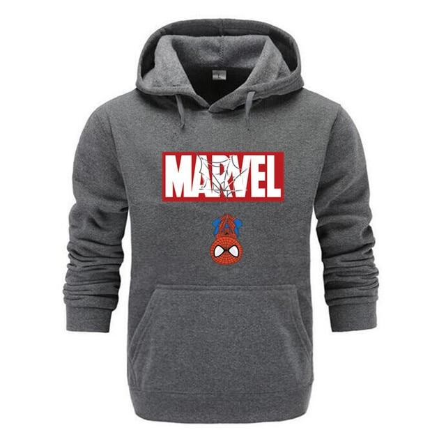 Marvel Hoodies Men Brand 2019 New Spiderman Funny Long Sleeve Hooded Sweatshirt Mens Hoodie Tracksuit Sweat Coat Casual homme