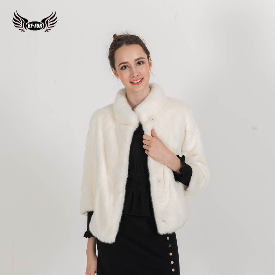 BFFUR Winter Women`s Short Real Mink Jacket Genuine fur Coats O-Neck Customizable Female Autumn Outwear Natural Fur BF-C0478