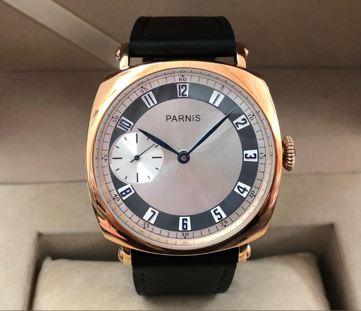 45mm PARNIS blue hand asian 6497 17 jewels Mechanical Hand Wind movement mens watch Rose gold color case pa125-p845mm PARNIS blue hand asian 6497 17 jewels Mechanical Hand Wind movement mens watch Rose gold color case pa125-p8