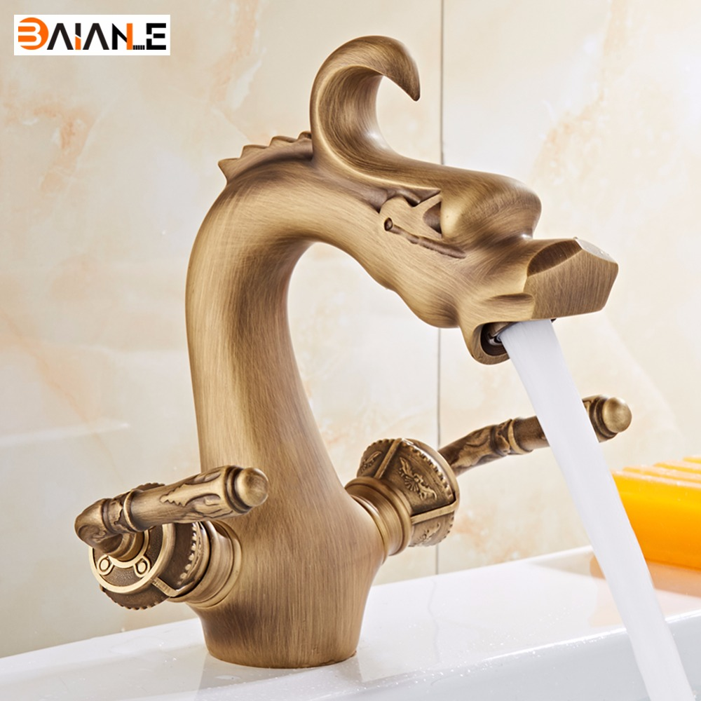 Basin Faucet Deck Mounted Antique Dragon Bathroom Faucet brass bathroom faucets single handle Hot and Cold Water Mixer Tap micoe hot and cold water basin faucet mixer single handle single hole modern style chrome tap square multi function m hc203