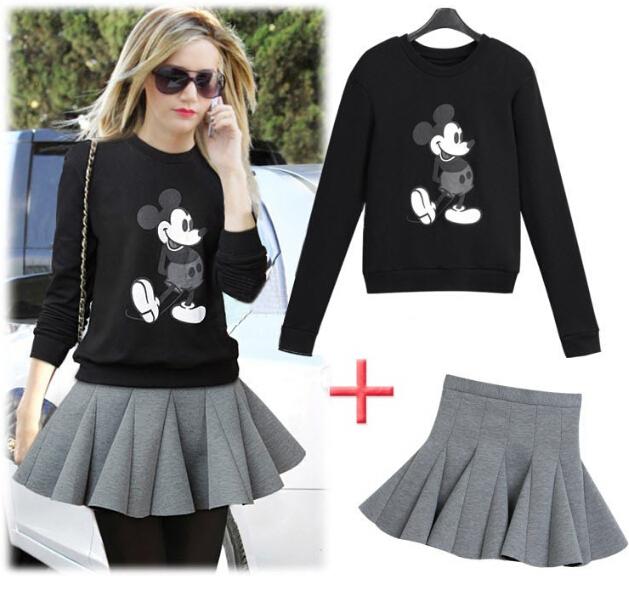 2015 mujeres del resorte de la ropa de moda lindo negro ratón del o-cuello suéter del algodón falda corta plisada gris