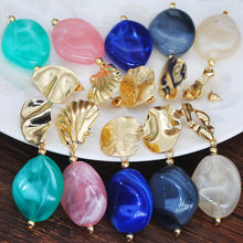 Ethnic Vintage Jewelry Raw Nuggets Ear Studs Colorful Resin Acrylic Imitation Marble Jades Stone Dangle Earrings Women Party(China)