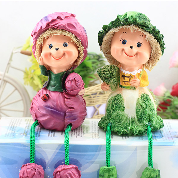 1pair cute suspending doll pastoral resin craft toys couple gifts for wedding birthday m09