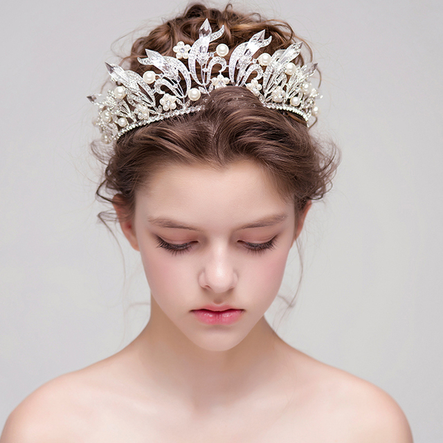 White Big Crystal Bridal Crowns Pearl Wedding Tiaras And Crowns