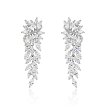 High Quality Silver Plated Luxury Brand Micro Pave AAA Cubic Zirconia Leaf Shaped Chandelier Earrings for Women