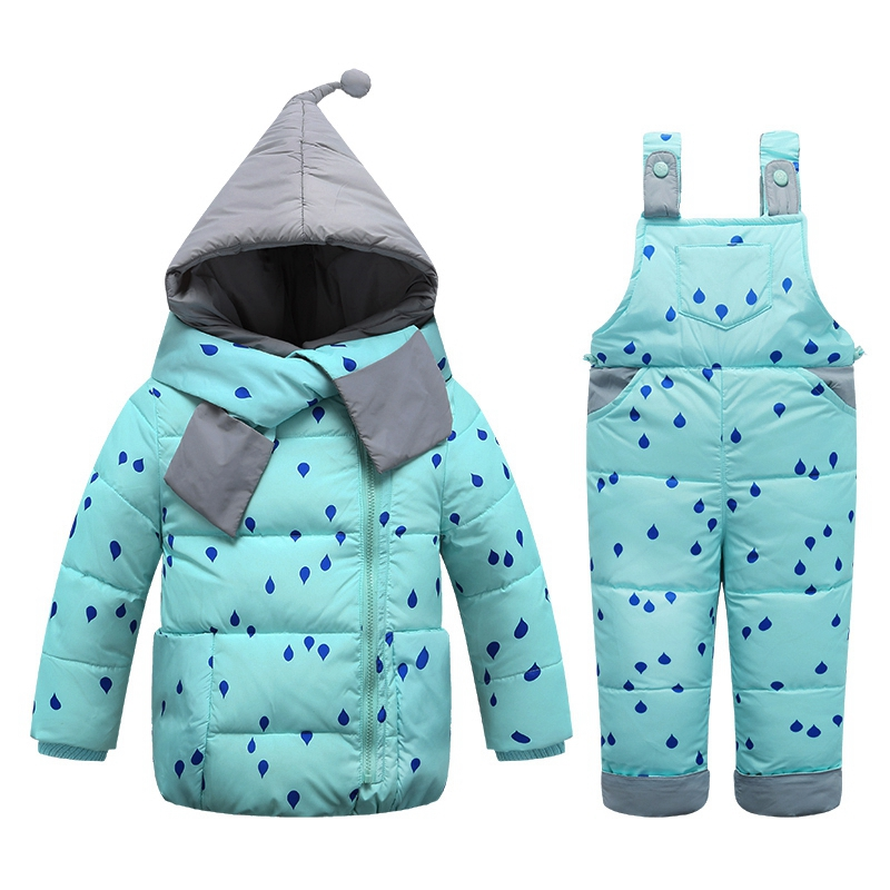 11.11 Fashion Children Winter Down Sets Kids Ski Suit Overalls Baby Girl Boy Down Coat Warm Snowsuits Jackets+bib Pants 2pcs/set цена