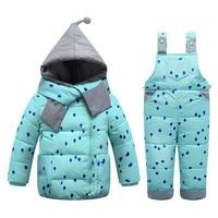 2017Fashion Children Winter Down Sets Kids Ski Suit Overalls Baby Girls Boys Down Coat Warm Snowsuits