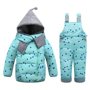 7aca6efdb Los niños de invierno abajo conjuntos de traje de esquí para niños  pantalones de bebé muchachos de las niñas calientan trajes chaquetas +  Pantalones de ...