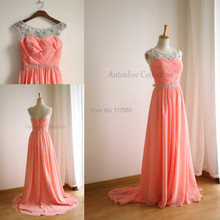 2015 New Arrival Coral Color Bridesmaid Dress Ruched Chiffon Cheap Long Formal Brides maid Dress Women Gown Free Shipping BD207
