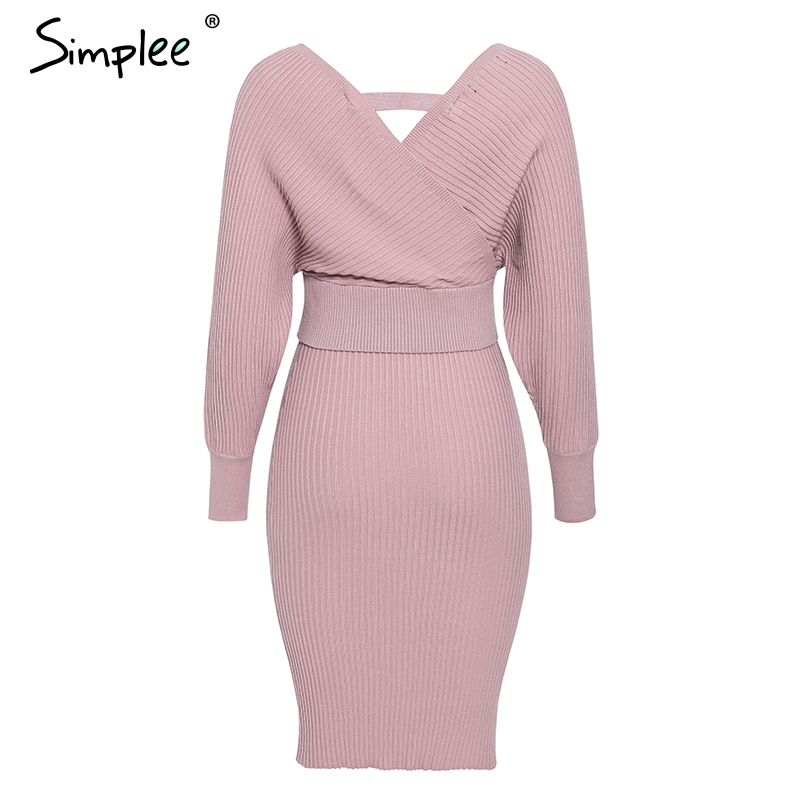 Simplee Sexy v-neck women knitted skirt suits Autumn winter batwing sleeve ladies suit Elegant party female sweater pink dress 11