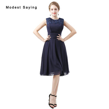Elegant Navy Blue A-Line Lace Bridesmaid Dresses 2018 Formal Girls Purple Knee-Length Chiffon Maid of Honor Party Prom Gowns