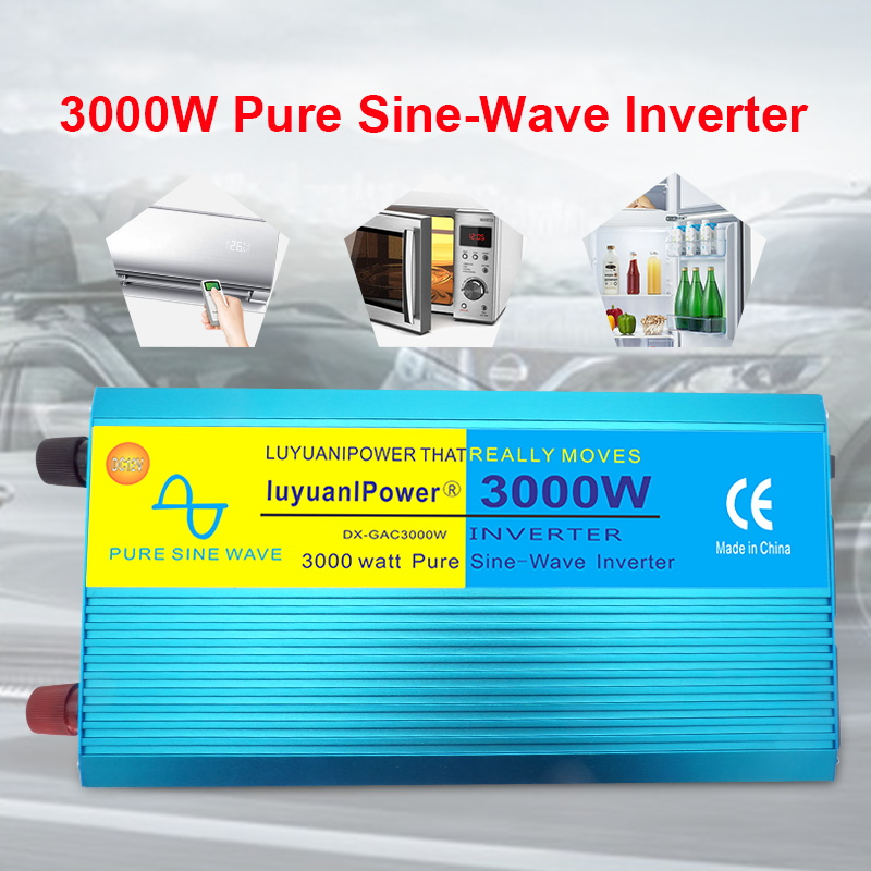 3000W Digital Display PURE SINE WAVE POWER INVERTER  DC 12V/24V To AC 110V/220V CAMPING BOAT Converter With LCD Display 2 AC OUT