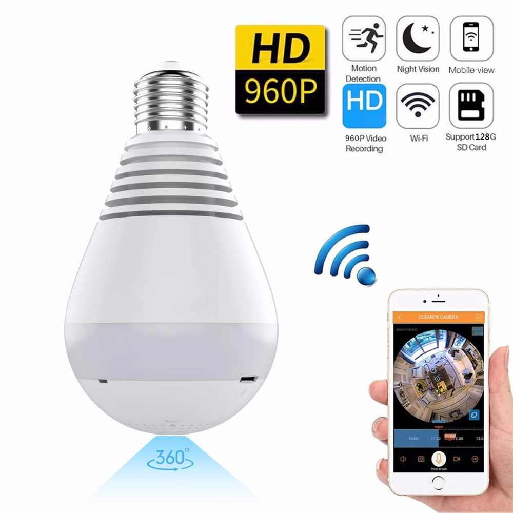 360 Degree Panorama Video Camera Wifi IP Light Bulb Surveillance Cam CCTV Motion Sensor Night Vision 960P for iPhone Android