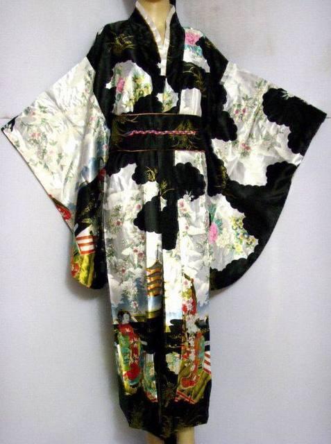 Yeni Varış Siyah Vintage Japon kadın İpek Saten Kimono Yukata Abiye Çiçek Bir Boyut Ücretsiz Kargo H0007