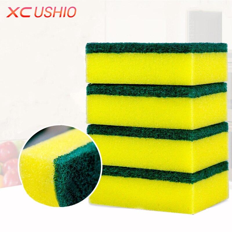 5pcs / lot 고밀도 에머리 스펀지 매직 데 씰링 스폰지 양면 주방 욕실 러스트 지우개 청소 도구