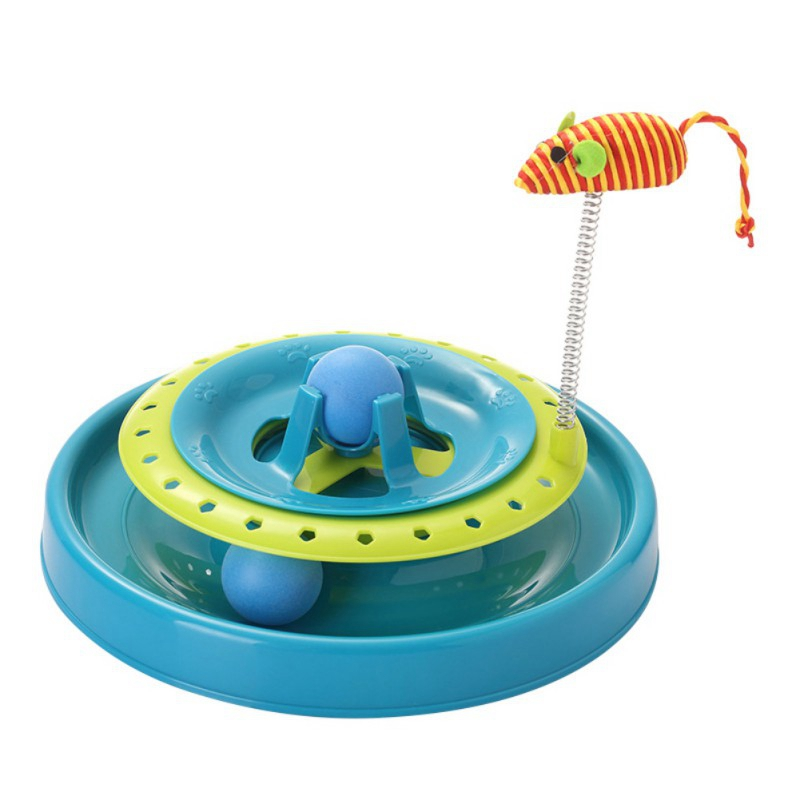 Cats Turntable Eduactional Funny Crazy Amusement Plate Mouse Spring Cat Toys Cat Turntable Pet Interactive Toys