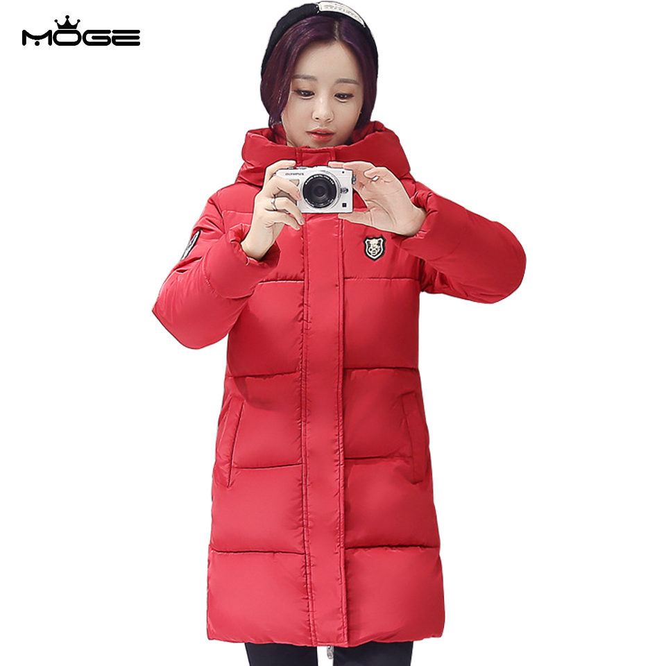 MOGE women long winter jacket red warm basic jacket thick manteau femme hiver casaco feminino inverno abrigos mujer invierno от Aliexpress INT