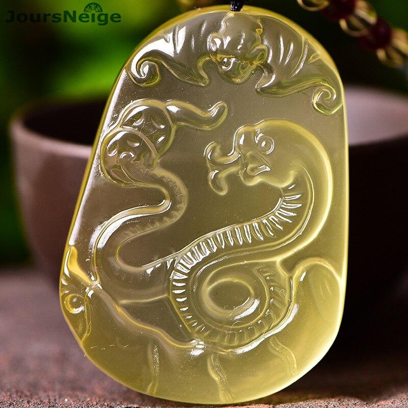 Оптовая продажа желтый Природный кристалл кулон змея кулон Цепочки и ожерелья свитер цепи зодиака Маскоты держать безопасный Lucky Для женщи...