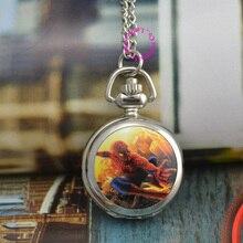 Оптовая продажа человек-паук карманные часы ожерелье серебро Хорошее качество Мода FOB часы леди девушка женщина детей antibrittle