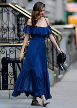 Слово воротник сокровище синие пикантные пляжные Курорт Коллекция талии платье Миранда же пункт