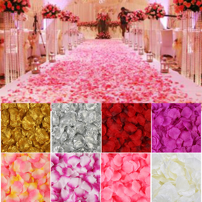 Silk Rose Flower Artificial-Rose-Petals Romantic Wedding-Decoration 2000pcs/Lot for Colorful