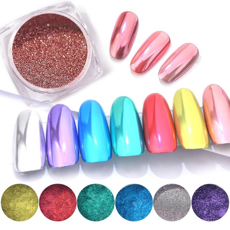 Nagelglitzer KüHn 0,3g Holo Magie Spiegel Pulver Nail Art Glitter Highlight Staub Maniküre Dekoration Nägel Schimmer Pulver Mit Pinsel Chrom Pigment