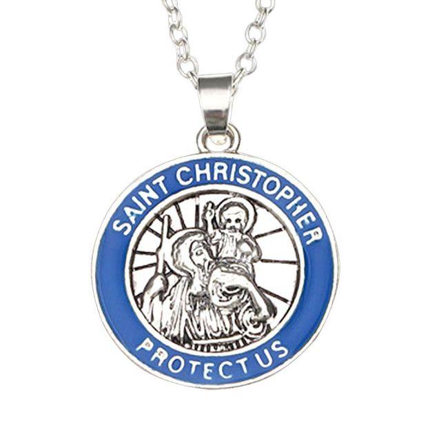 """מזכרות מטבע תליון מגניב סגסוגת """"כריסטופר הקדוש להגן עלינו"""" שרשרת יוניסקס מתכוונן קולר תמציתי עיצוב תכשיטי מתנות"""