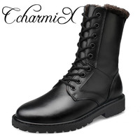 CcharmiX Gran Tamaño Zapatos Para Hombre de Invierno de Mitad de la Pantorrilla de Cuero Genuino Masculino de Cuero Botas de Trabajo Botas de Invierno Negro Para Hombre Militar botas