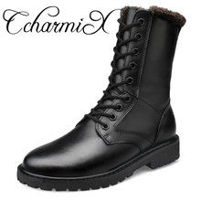 Фотография CcharmiX Large Size Genuine Leather Mens Winter Shoes Mid-Calf Male Leather Boots Winter Work Boots Black Mens Military Boots
