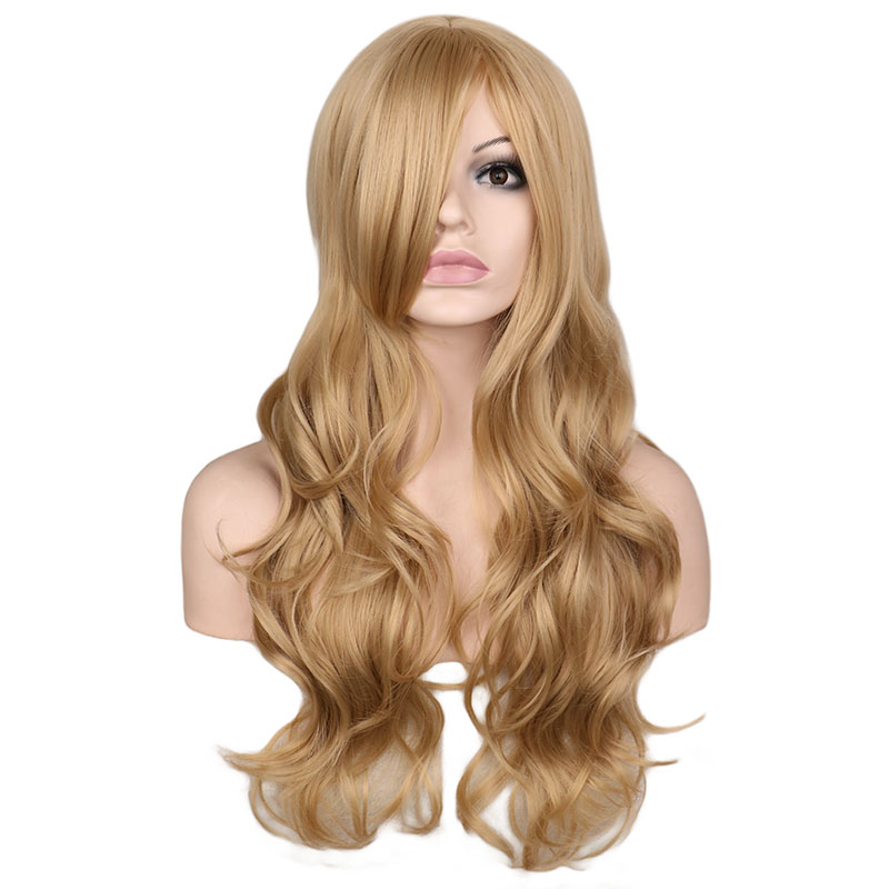 QQXCAIW Long Wavy Women Wig Blonde 68 Cm High Temperature Fiber Synthetic Hair Wigs