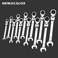 NEWACALOX 12 pz/lotto Combinazione Chiave di Coppia di Chiavi Set Flessibile Testa Ratchet Chiave Universale Dente Gear Anello Wrench Tool Kit