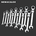 NEWACALOX 12 stks/partij Combinatie Momentsleutel Sleutels Set Flexibele Kop Ratelsleutel Universele Tand Gear Ring Wrench Tool Kit