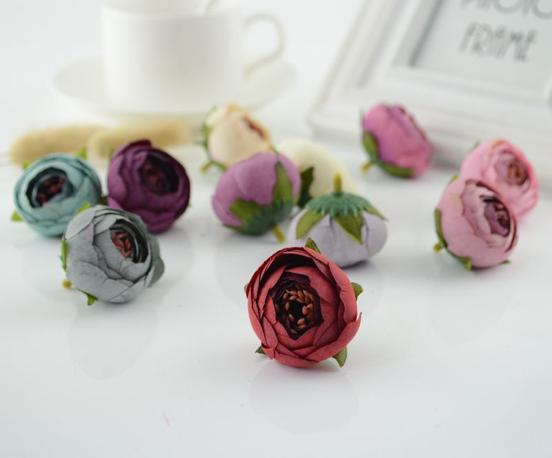 silk tea bag Fake Rose flores Artificial Flowers cheap for Home Wedding Decoration DIY Wreaths material gifts scrapbooking craft