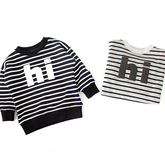 73c4eb8f4f44 Fleece Lining Warm Baby Boys Grils Autumn Winter Sweaters HI Striped ...