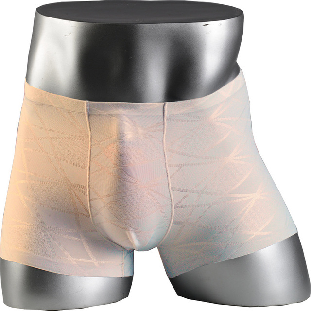 2e1a25bd329d Nueva ropa interior masculina sin costuras de seda de hielo de Jacquard  delgado para hombre bóxer Shorts transparentes U convexos Cuecas  Calzoncillos Bóxer